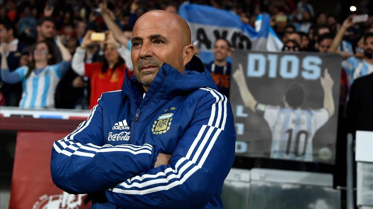 Sampaoli, en el Wanda durante el España-Argentina.