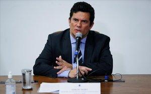 Sergio Moro, durante la rueda de prensa en la que anunció la dimisión como ministro de Justicia.