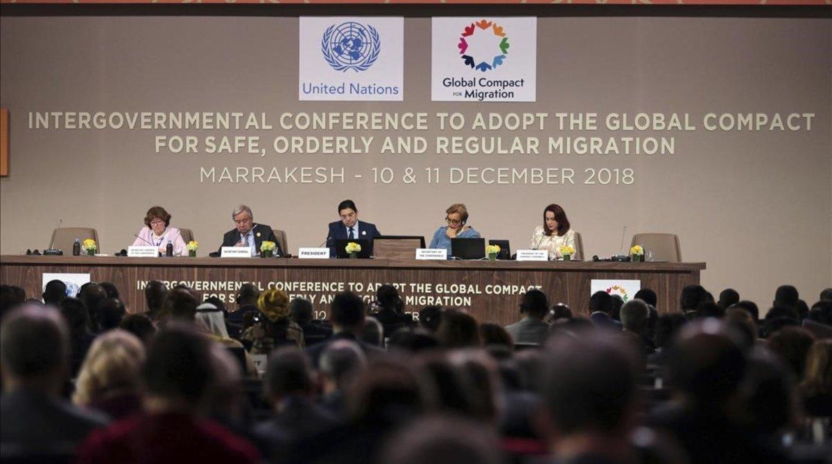 Sesión de apertura de la conferencia del Pacto Mundial de las Migraciones celebrado en Marrakech.