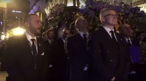 Imagen del vídeo delaprocesión de Semana Santa enCastellón de la Plana en la que se gritaron consignas fascistas.