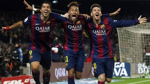 Suárez, Neymar y Messi celebran un gol al Atlético en enero de este año.