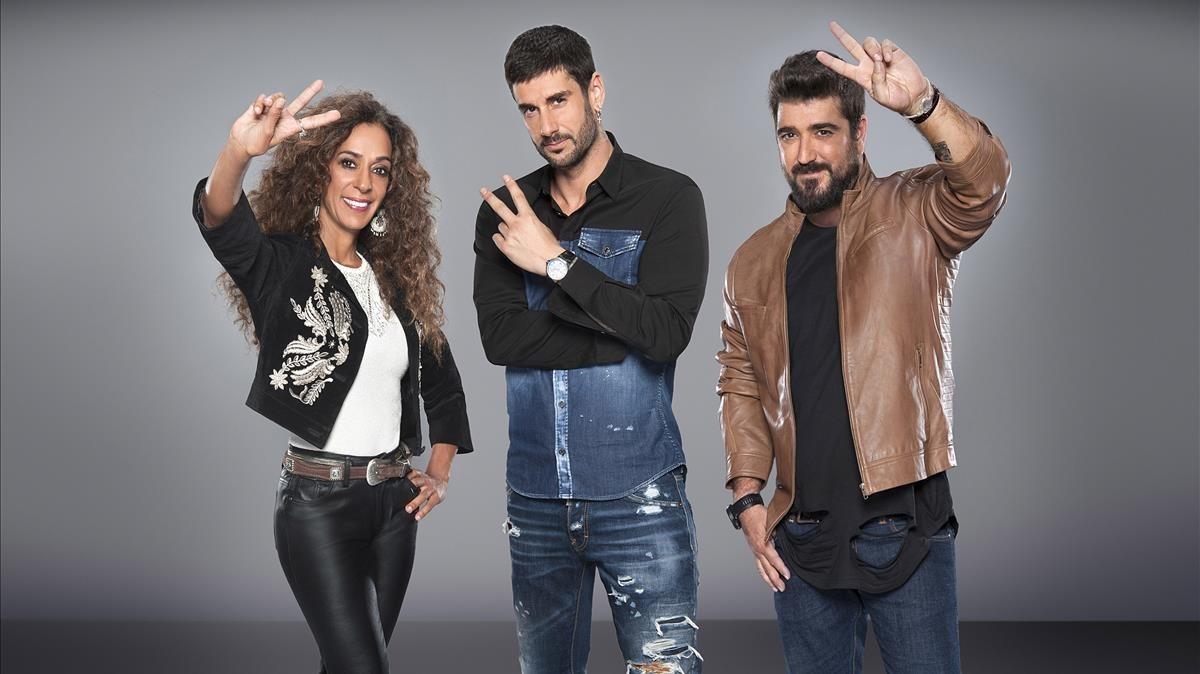 Rosario, Melendi y Antonio Orozco, los coachs del concurso de Tele 5 La voz kids.