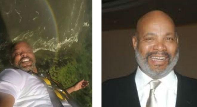 Fotograma del vídeo en que Will Smith salta al vacío. A la derecha, una fotografía de Jamer Avery, el popular Tío Phil.