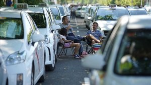 Imagende la última huelga de taxis en Madrid.
