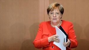 Merkel, tras el Comsejo de Ministros de este miércoles.