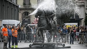 La polémica estatua ecuestre de Franco, de la exposición del Born del 2017 en Barcelona.