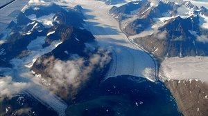 Imagen de un glaciar de Groenlandia visto desde la Estación Espacial Internacional.