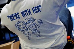 A union tradesman wears a Hillary Clinton t-shirt in Philadelphia