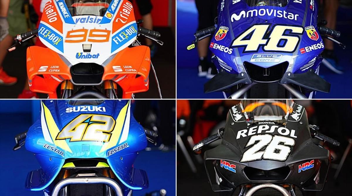 Están son las cúpulas, con todo tipo de artilugios aerodinámicos, de la Ducati (99), Yamaha (46), Suzuki (42) y Honda (26).