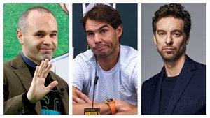 Andrés Iniesta, Rafael Nadal y Pau Gasol, las tres personas más valoradas por los españoles.