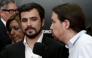 Alberto Garzón y Pablo Iglesias en un acto en el Palacio de Cibeles de Madrid.