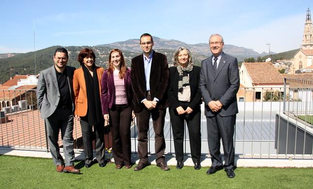 El alcalde de Sabadell, Joan Carles Sánchez, la alcaldesa de Barberà, Ana del Frago, la alcaldesa de Montcada, Maria Elena Pérez, el alcalde de Castellar, Ignasi Giménez, la presidenta del Consorci de Turisme del Vallès Occidental, Olga Olivé, y el alcalde de Ripollet, Juan Parralejo.