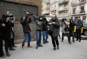 Antonio Baños, esta mañana, a su llegada al consejo nacional de la CUP.