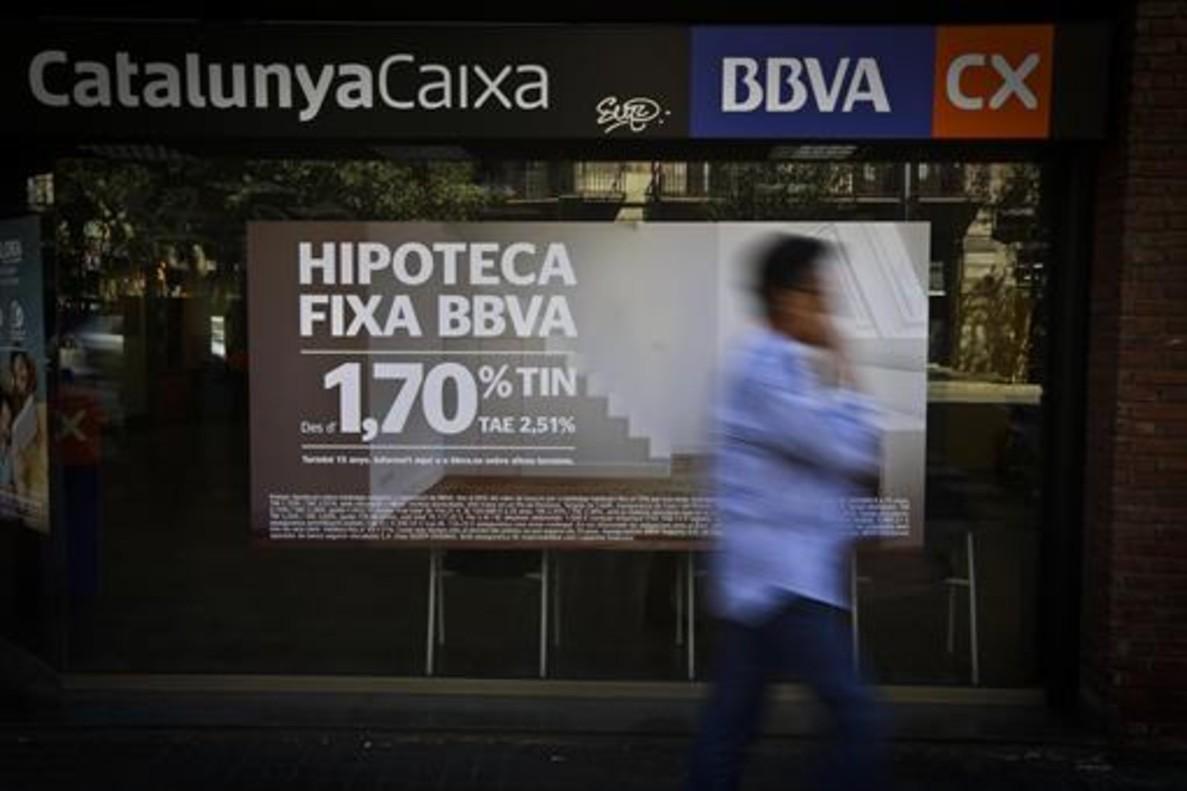 Anuncio de una oferta de hipoteca de una sucursal de Barcelona.