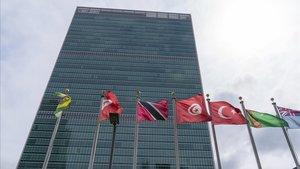 Banderas ondean frente al edificio de Naciones Unidas, el pasado 18 de septiembre.