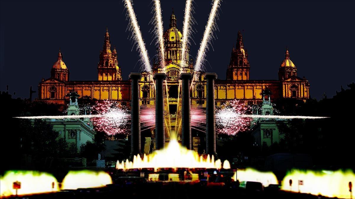 Imagen virtual del las Fonts de Montjuïc para despedir el 2017.