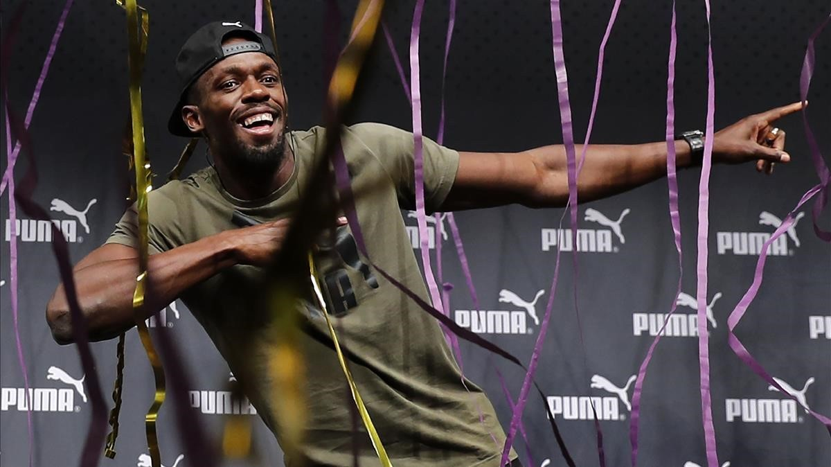 Bolt, en un acto promocional,este martes en Londres.