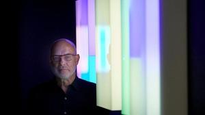 Brian Eno, este miércoles, en el centro Arts Santa Mònica de Barcelona, en la inauguración de Lightforms / Soundforms.