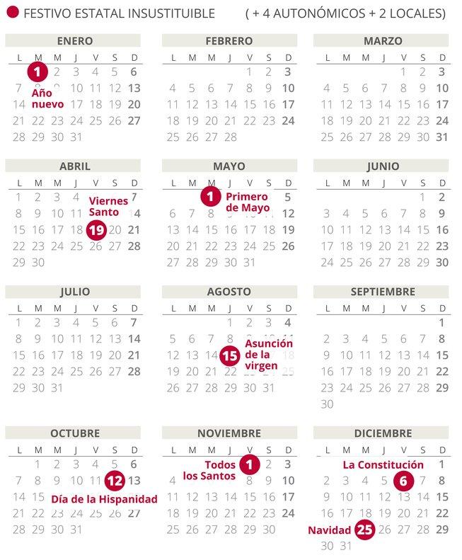 Calendario 2019 Castilla Y Leon.Calendario Laboral Espana 2019 Con Todos Los Festivos