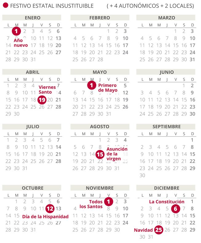 Calendario Diciembre.Calendario Laboral Espana 2019 Con Todos Los Festivos