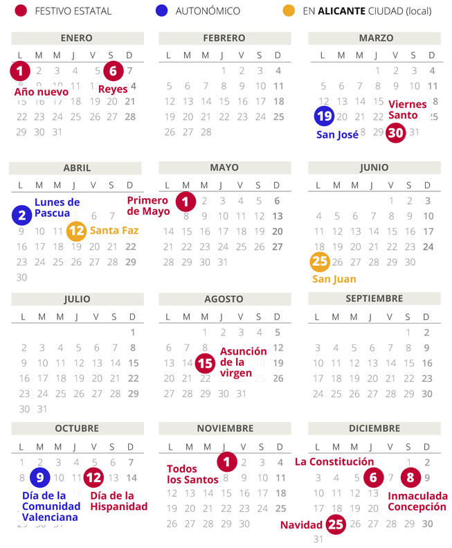 Calendario laboral de Alicante en el 2018.