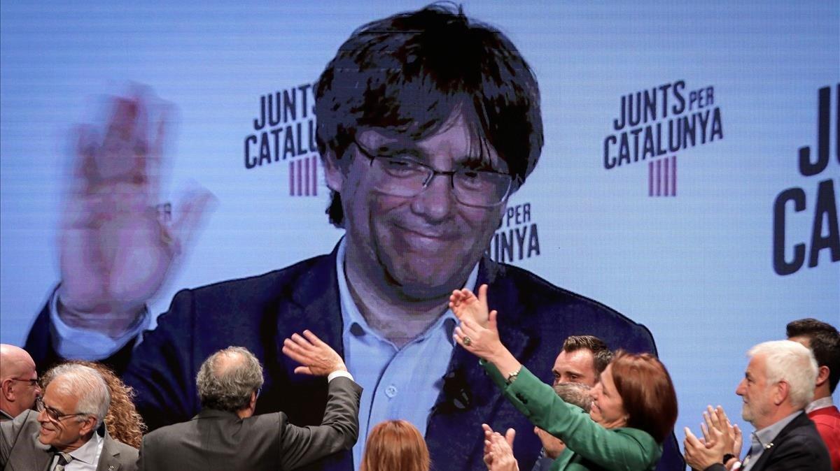 Carles Puigdemont, por videoconferencia,en un acto de campaña el pasado 21 de mayo.