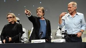 Carrie Fisher, Mark Hamill y Harrison Ford, en el Comic-Con de San Diego, en julio de este año.