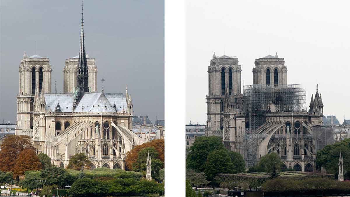 El mundo, conmocionado al ver arder la catedral de Notre Dame de París.