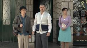 Ricardo Darín, flanqueado por Ignacio Huangy Muriel Santa Ana en Un cuento chino.
