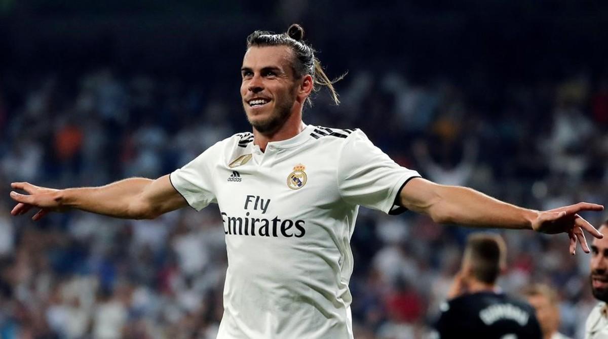 Gareth Bale celebra el primer gol del Real Madrid ante el Leganés.