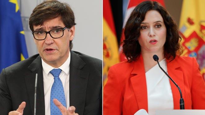El Gobierno aconseja a Madrid aplicar las restricciones en toda la ciudad. En la foto, Salvador Illa e Isabel Díaz Ayuso.