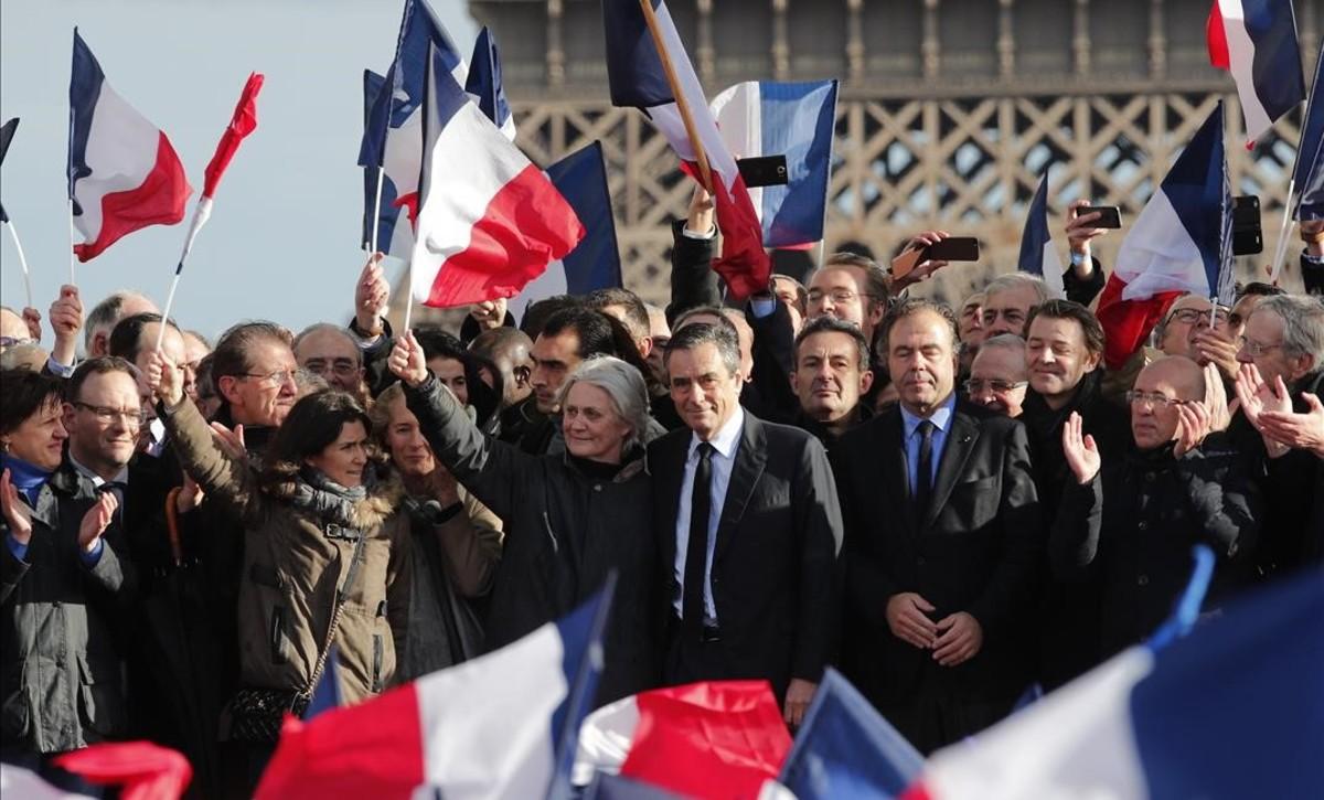 Manifestación de apoyo a Fillon en París.