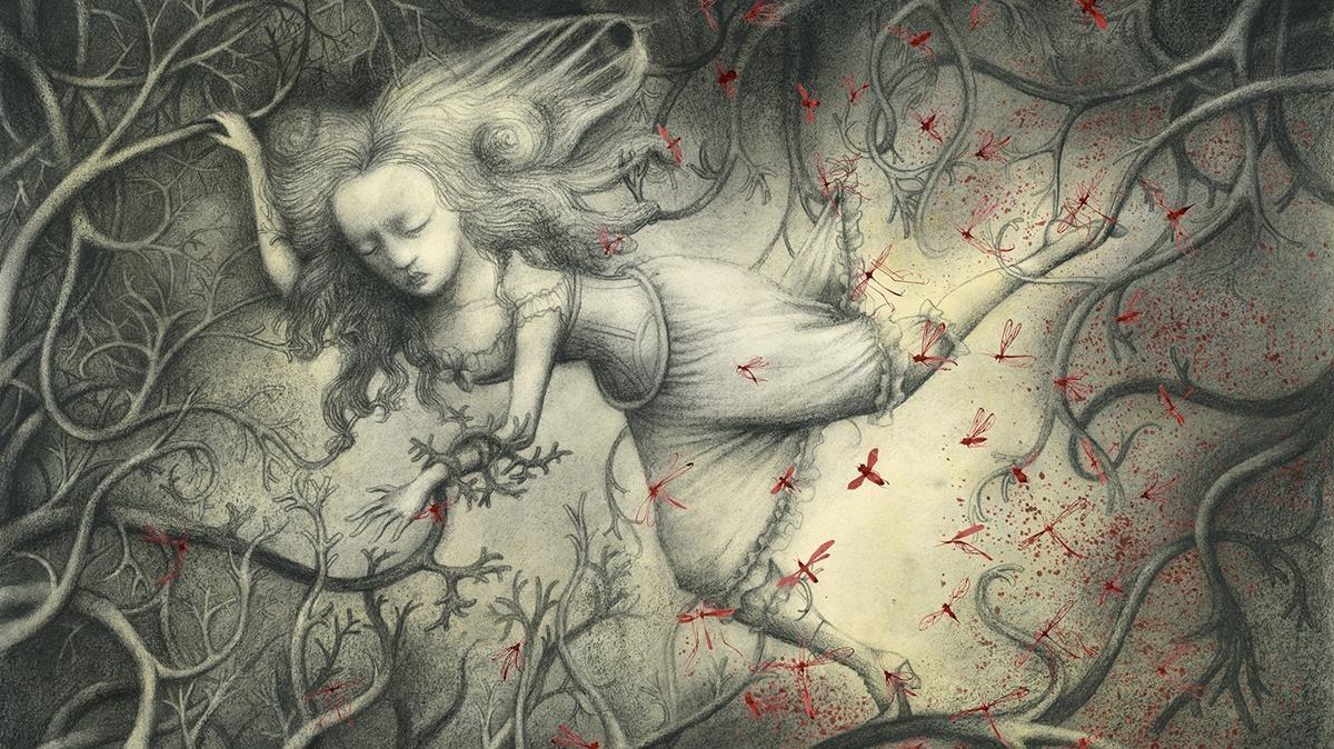 Ilustración de Ana Juan para Elisa en el corazón del laberinto, con texto de Sébastien Perez.