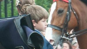 Un net de 10 anys d'Isabel II, fotografiat conduint