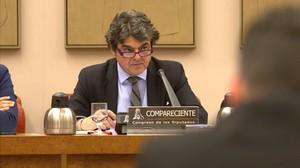 Jorge Moragas, durante su intervención ante la Comisión de Seguridad Nacional en el Congreso.