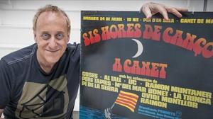 Josep Maria Mainat, con un cartel de las Sis Hores de Cançó de Canet de Mar (1976)
