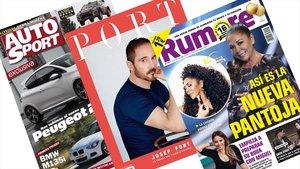Las tres revistas que dejan de publicarse: 'Autohebdo Sport', 'Port' y 'Rumore'.
