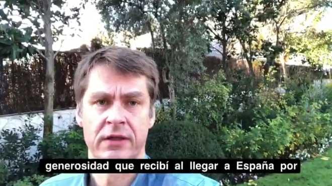 Mensaje del embajador británico en España explicando el triste final de la búsqueda de una española que le ayudó.