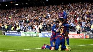 Messi, Suárez y Dembélé celebran el gol de la victoria