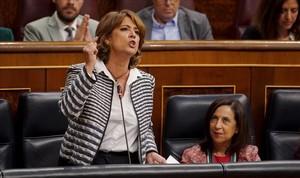La ministra de Justicia, Dolores Delgado, en la sesión de control al Gobierno en el Congreso.
