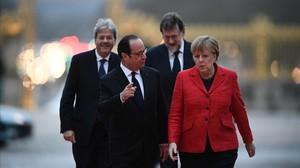 França, Alemanya, Itàlia i Espanya defensen a Versalles l'Europa de dues velocitats