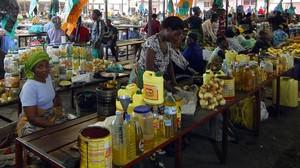 Mujeres en un mercado de Goma.