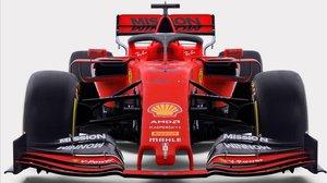 El nuevo monoplaza de Ferrari, con los nuevos colores, que conducirán Sebastian Vettel y Charles Leclerc.