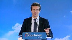 Pablo Casado, el pasado día 2,interviene en un acto en Ferrol (A Coruña).