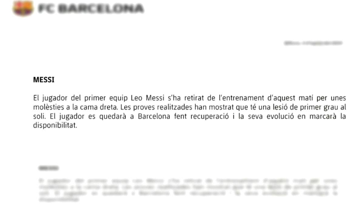 El parte médico que informa de la lesión de Leo Messi.
