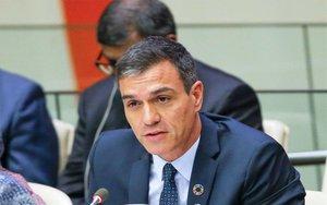 Pedro Sánchez en unareunión de alto nivel en la sede de la ONU.