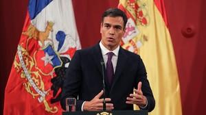 Pedro Sánchez, este martes en Santiago de Chile.