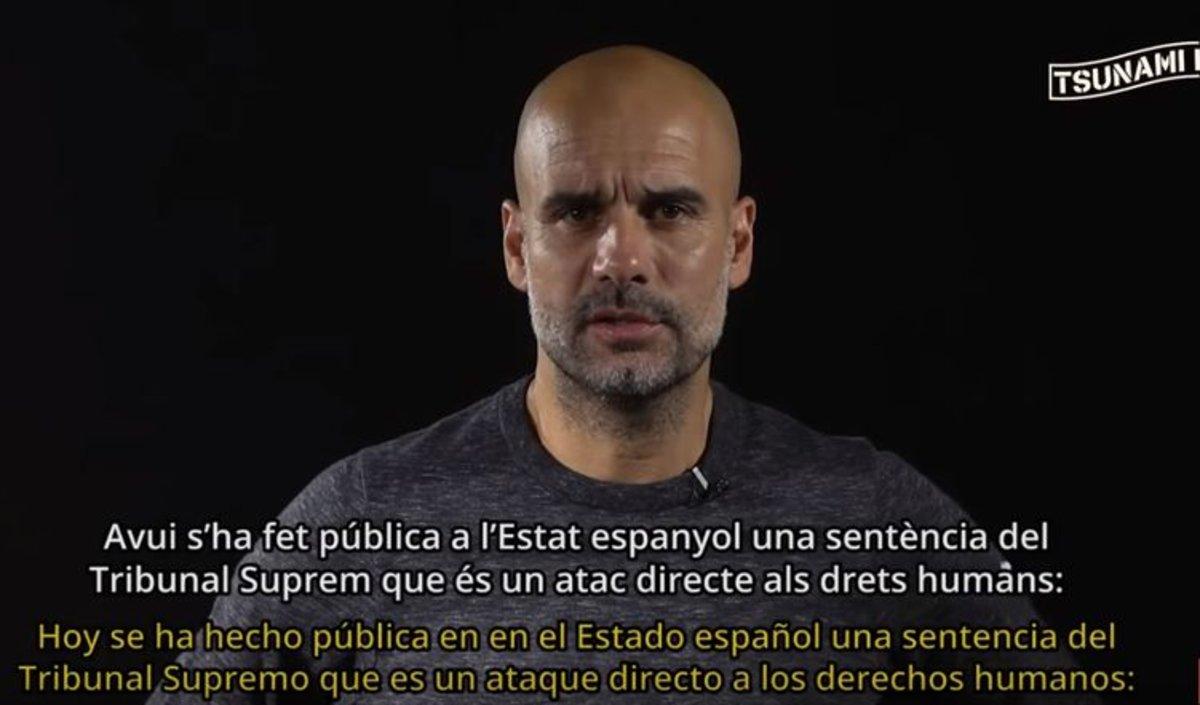 Guardiola difunde un vídeo en nombre de Tsunami Democràtic