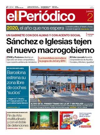 La portada de EL PERIÓDICO del 2 de enero del 2020