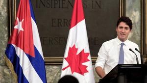El primer ministro de Canadá, Justin Trudeau, durante una charla en la Universidad de La Habana en el 2016.
